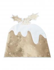12 tovaglioli di carta pudding con agrifoglio oro