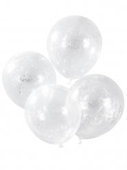 5 palloncini trasparenti con coriandoli stelle argento