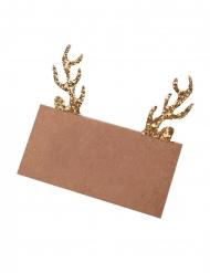 10 segnaposto kraft con cervo brillantini oro