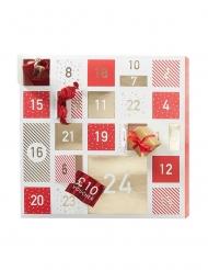 Calendario dell'Avvento fai da te rosso e bianco