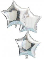 3 palloncini in alluminio stelle iridescenti