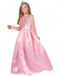 Costume lungo da principessa rosa bambina