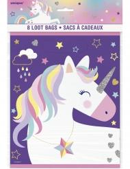 8 sacchetti regalo unicorno viola