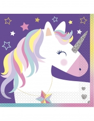 16 tovaglioli di carta viola party unicorno