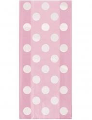 20 sacchetti in plastica rosa con pois bianchi
