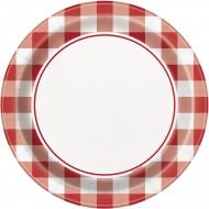 8 piattini a quadretti rossi e bianchi 18 cm