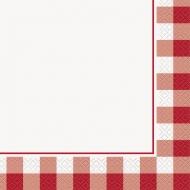 16 tovaglioli in carta quadretti rossi e bianchi