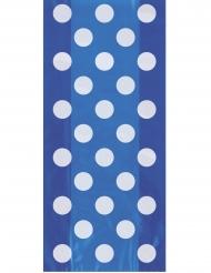 20 sacchetti in plastica blu con pois bianchi