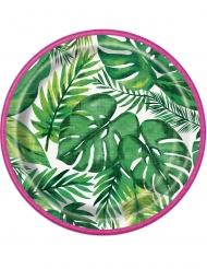 8 piattini con foglie tropicali 18 cm