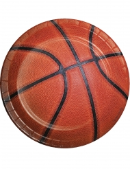 8 piattini in cartone pallone da basket 18 cm