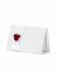 Busta porta soldi bianca con fiori rossi