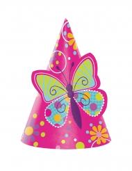8 cappellini da festa con farfalla per bambini