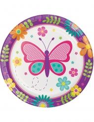 8 piattini in cartone farfalle e coccinelle 18 cm