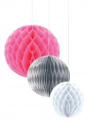 3 sfere alveolate in carta rosa grigio e bianco