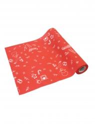 Runner da tavola in tela rossa motivi invernali
