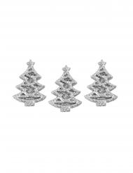 5 mini alberi di Natale adesivi con brillantini argento