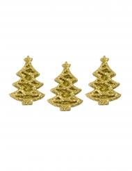 5 mini alberi di Natale adesivi con brillantini oro