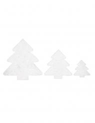 6 alberi di Natale decorativi brillantini bianchi