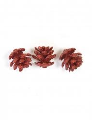 10 mini pigne con brillantini rossi