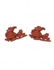 6 statuine in resina Babbo Natale brillantini rossi
