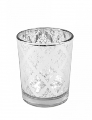 Portacandele in vetro argentato con motivo mandala