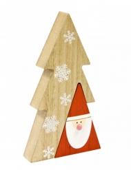 Decorazione per la tavola in legno albero con Babbo Natale