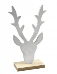 Decorazione di legno testa di renna argento