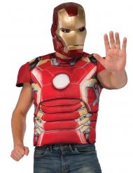 T-shirt con petto muscoloso e maschera da Iron Man™ per adulto