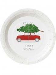 8 piattini in cartone macchina di Natale 18 cm