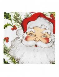 20 tovaglioli di carta Babbo Natale con agrifoglio