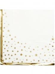 16 tovaglioli di carta bianchi con stelle oro