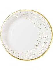 12 piatti in cartone stelle dorate 23 cm