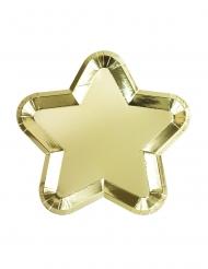 12 piatti in cartone a forma di stella oro 23 cm