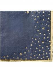 16 tovagliolini di carta blu con stelle oro