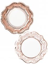 12 piatti in cartone stile porcellana oro rosa