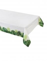 Tovaglia di carta bianca con foglie tropicali