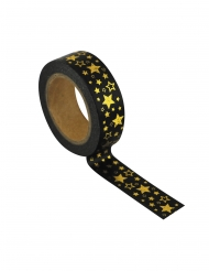 Washi tape nero con stelle dorate