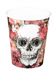 6 bicchieri in cartone scheletro floreale