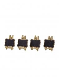 4 mini lavagne su cavalletto con brillantini oro