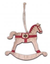 Cavallo a dondolo in legno da appendere brillantini rossi