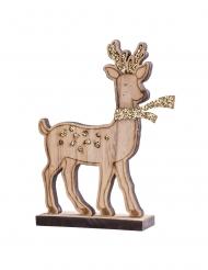 Cervo in legno con supporto con brillantini oro