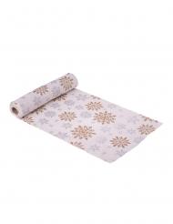 Runner da tavola in lino fiocchi di neve argento e rame