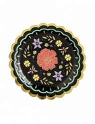 6 piattini in cartone fiori Dia de los muertos 18 cm