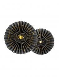 2 rosoni decorativi neri e oro con ragno