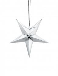 Decorazione da appendere in cartone stella argentata