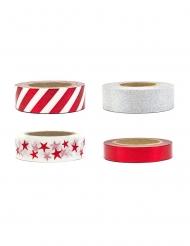 4 washi tape bianchi rossi e argento