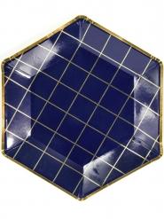 6 piatti in cartone blu a quadri oro 23 cm