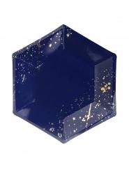6 piatti in cartone blu con scintille oro 20 cm