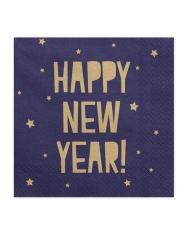 20 tovaglioli in carta blu e oro Happy New Year