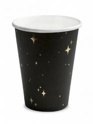 6 bicchieri in cartone neri stelle oro